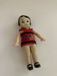 VINTAGE IRWIN Plastic Chinese BABY DOLL with Dress Rare Asian doll Arms Rotate