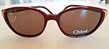 "CHOLE Women's Burgundy Sunglasses w/ Gold ""Chloe"" Engraved at Ear CL2250 C03 135"