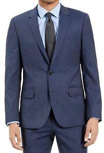 Hugo Hugp Boss Mens Suit Jacket Blue Size 44 Slim-Fit Stretch Wool $475 #130
