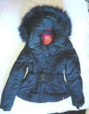 edc Esprit Damen Daunenjacke S 36 170 Fell Kapuze schwarz warm Gürtel NEUw Cargo