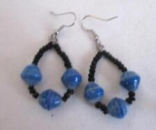 """Recycled Paper Bead 3 Bead Dangle Earring 2"""" Blue Black Silver Ear Wire"""