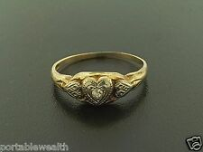 Antique Style Heart Ladies Ring Round Diamond 14K Yellow Rose Gold