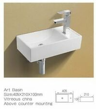 Small Mini Corner Cloakroom Right Hand Basin Sink Wall Hung Mounted Countertop
