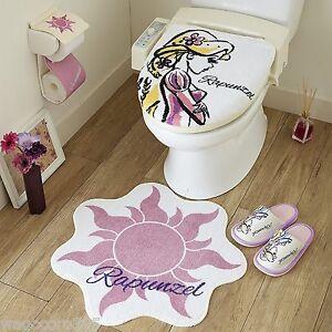 Disney Princess Rapunzel Toilet Seat Paper Cover Set with Matt Slipper