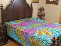 Multicolor Peacock Tail Fan Cotton Bedding India Wall Tapestry Bed Sheet Full