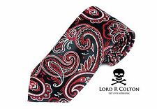 Lord R Colton Masterworks Tie - Ravello Onyx Red Paisley Silk Necktie - New