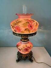 BEAUTIFUL!!  GWTW GLOBE LAMP - 3 WAY - PINK / ROSE COLORED - HAND PAINTED