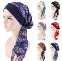 Women Cancer Hat Chemo Cap Muslim Hair Loss Head Scarf Turban Head Wrap Cover AU
