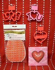 Set 5 Love Romance Cookie Cutters Napkins Treat Sacks Valentine Heart Bride Xoxo