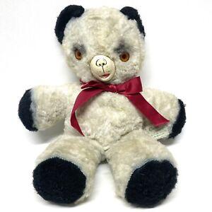 "Antique Gund Plush Teddy Bear 12"" Black & White Rubber Nose Face Orange Eyes"