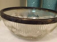Vintage Clear Glass Bowl Criss Cross Type Pattern Metal Rim
