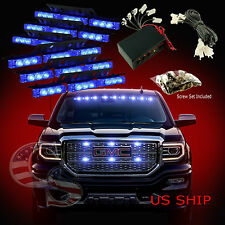 54 LED Car Truck Strobe Emergency Warning Light for Deck Dash Grill Blue Blue