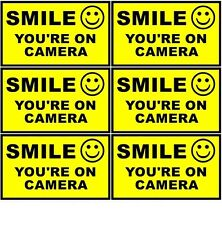 6 Home Business SMILE YOU'RE ON CAMERA Window Door Warning Vinyl Sticker Decal