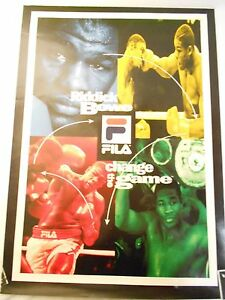 * RARE * RIDDICK BOWE BOXING POSTER ADVERTISMENT FOR FILA CLOTHING VG-EX