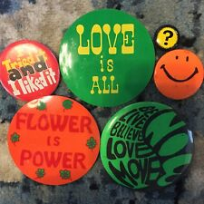 6 VINTAGE Hippie 60s/70s Pins Psychedelic Acid Flower Power Love Is All beatles