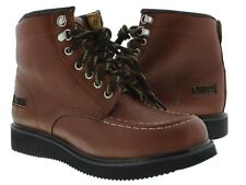 Mens Brown Cognac Leather Tough Durable Heavy Duty Work Boots Comfort Casual