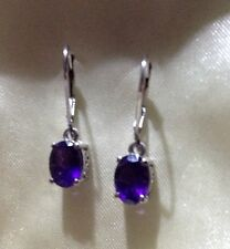 2 Ct AA Lusaka Amethyst Earrings Lever Back Platinum on Sterling Silver