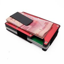 Aluminum Slim Minimalist RFID Blocking Credit Card Wallet with Money Clip (RED)