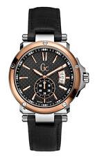Guess gc-1 sweep x65009g2s reloj Hombre-carcasa de acero inoxidable, negro pulsera de cuero