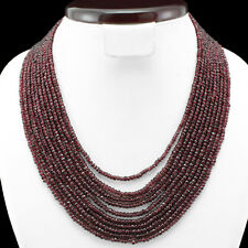 BEAUTIFUL 558.00 CTS NATURAL RED GARNET 10 LINE FACETED BEAD NECKLACE - GEM EDH
