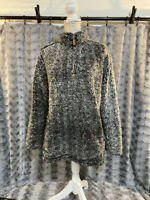 Simply Southern Women's Sherpa Style Pullover Heather Gray/Black Size Medium