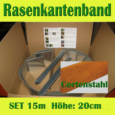SET 15m Rasenkantenband Corten-Metall Flexibel H = 20cm Beeteinfassung Rasenkant