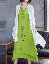 Women's Dress Multi-Layer Green & White Floral Print Asymmetrical BNWT Sz 2XLAu