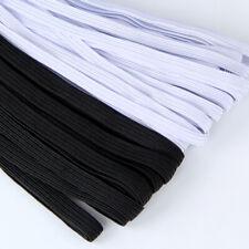 "10 Yards Elastic Band 1/4"" 6mm Width Sewing Trim String Diy White/Black Braided"