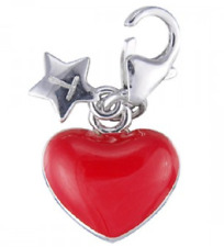 TINGLE Sterling Silver & Enamelled RED HEART Charm - Gift Bag & Box - SCH114