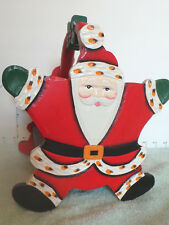 Santa, Wooden Christmas Decor, Basket,  For Decorations or Cards
