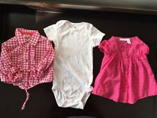 Lot of 3 Baby Girl Pink/White Tops/One Pieces Size 18 Months