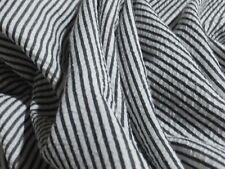 SEERSUCKER STRIPE-WHITE/BLACK-DRESS FABRIC-FREE P&P