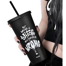 Killstar Goth Okkult To-Go Trinkbecher Reisebecher Cat Lady Becher Strohhalm