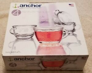"4 Anchor ""Savannah"" 7oz Clear Juice/Punch Cups/Glasses In Original Box, New"