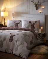 De Cama Tartan Check Stag Duvet Quilt Cover Set, NaturalBrown, King