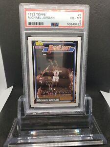1992 TOPPS MICHAEL JORDAN HIGHLIGHT #3 PSA 6 EX CHICAGO BULLS GOAT - NEW LABEL!