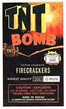 GENUINE FIRECRACKER FIREWORK LABEL TNT BOMB BRAND VINTAGE BRICK MACAU 6X10 A4
