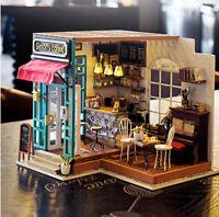 Robotime DIY Dollhouse Kit Miniature Modern Cafe with Furniture LED Gift Girls