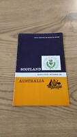 Scotland v Australia Rugby Union Programmes 1947 - 2009
