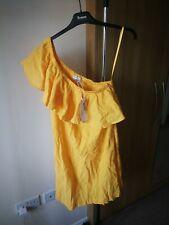 New Warehouse Womens Ladies Midi Dress Size 10 Yellow Cotton Casual Skater Z