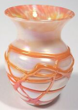 Gibson Glas - Threaded Pearlized Art Glass Vase - Orange and White