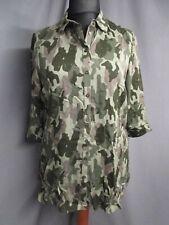 MS Mode Bluse Longbluse grün camouflage 3/4 Arm Gr.44 NEU (M1063)