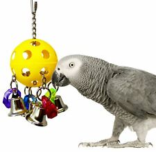 Bird Cage Toy For Parrot Hanging Ball Dangling Bells Colored Acrylic Rings Chain