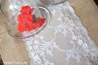 Tischläufer Vintage, Jute und Spitze 250 cm x 30 cm, Hochzeit, Deko, Brautkleid