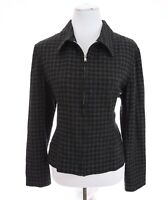 Ann Taylor Full Zip Black Jacket Blazer Lightweight Plaid USA Womens Sz 12 Large