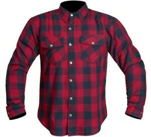 Motorcycle Motorbike Shirt Check Made with Kevlar Men Armoured  red