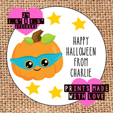Personalised Halloween party bag stickers 24 trick or treat pumpkin mask hh