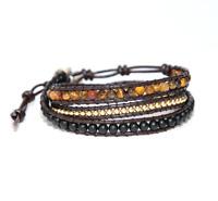 Leather Bracelet Leather Beaded Wrap Bracelet Tiger Eye Black Beaded Bracelet