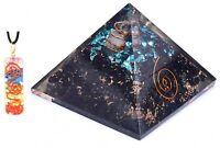 Tourmaline & Aquamarine Stone Orgone Pyramid + Chakra Pendent Generator Orgonite