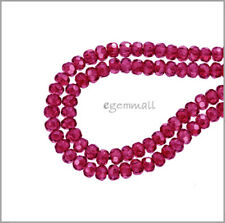 20 Synthetic Corundum / Ruby Rondelle Beads 4mm Red Fuchsia #64488